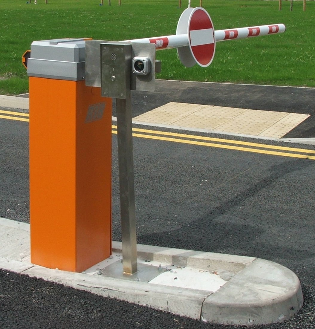 Car park barrier with proximity reader and intercom