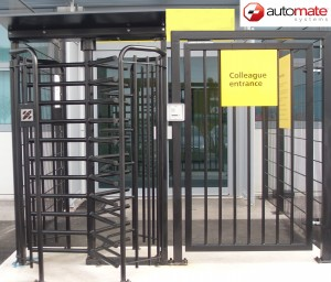 Turnstile complete with pedestrian gate.